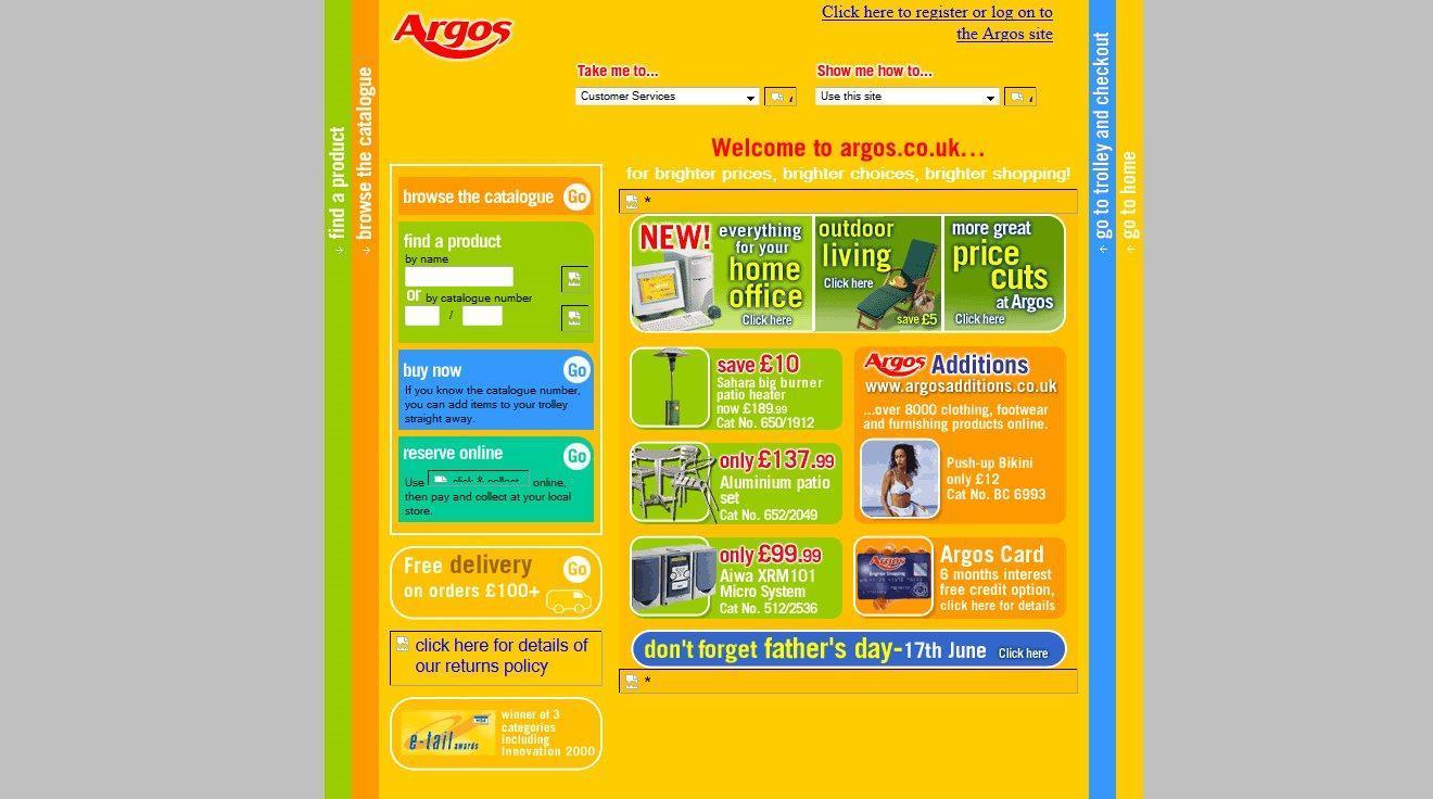 Etail Evolution: Argos's website through the years