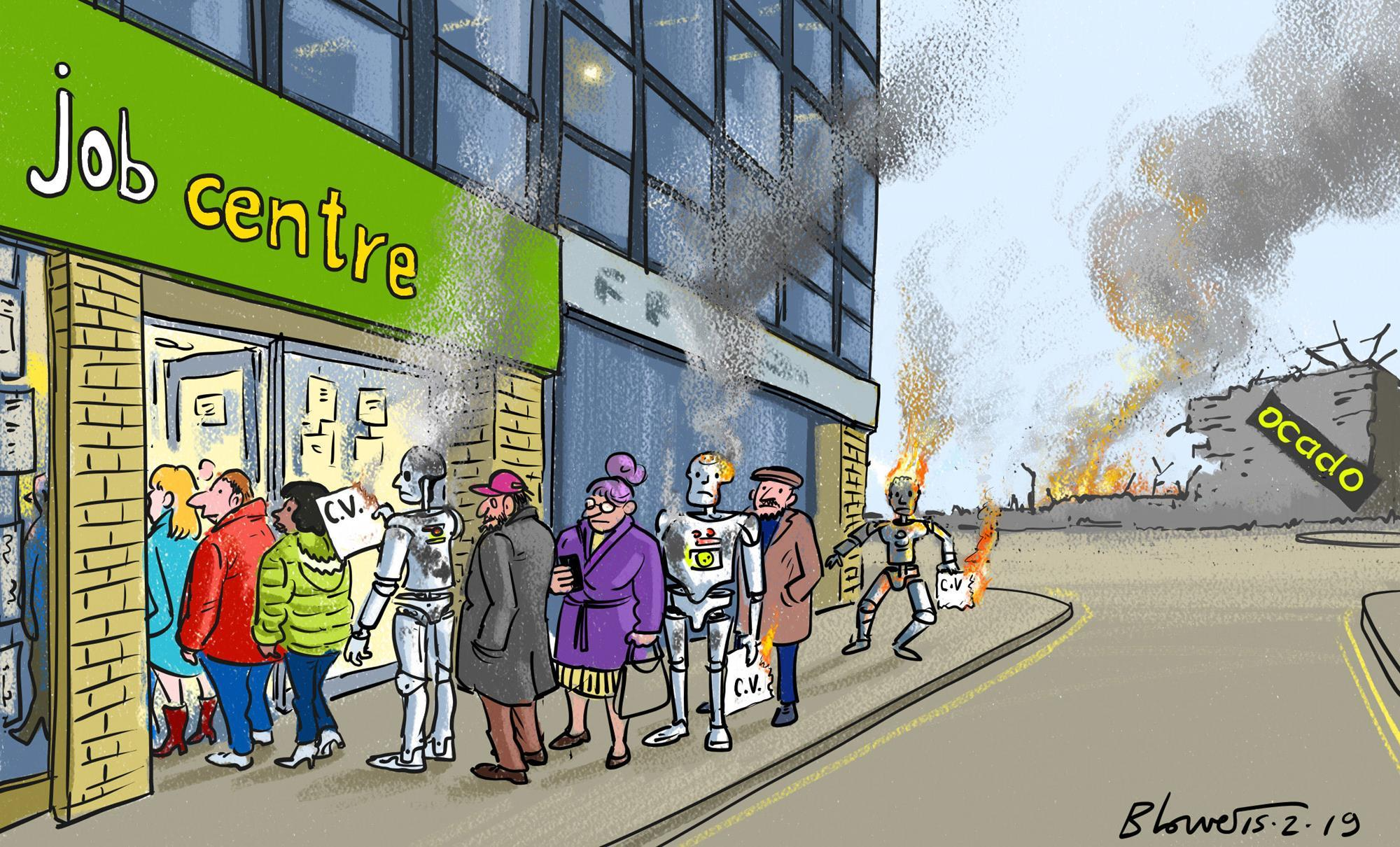 Retail cartoon: Ocado's automated warehouse fire | Cartoon