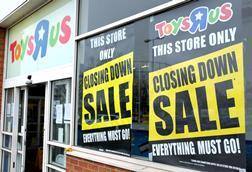 Toys R Us closing down sale, Old Kent Road, London, March 2018