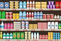 Supermarket shelf drawing