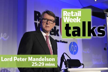 Peter Mandelson Retail Week Live 2015