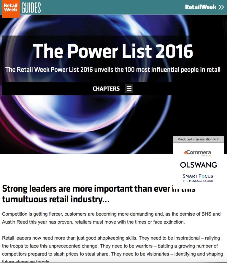 The Retail Week Power List 2016