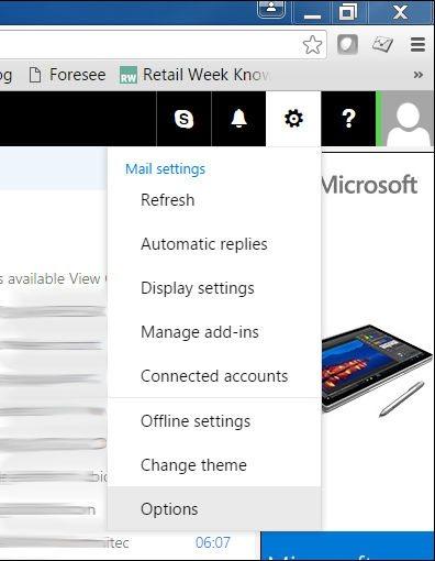 Outlook.com: Options