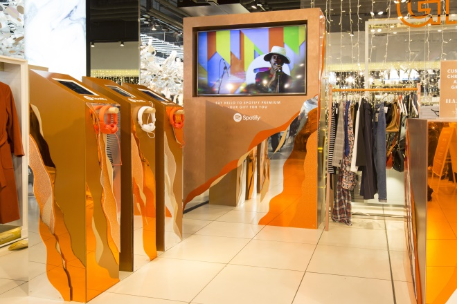 Spotify has launched its first physical retail presence in Topshop's flagship store.